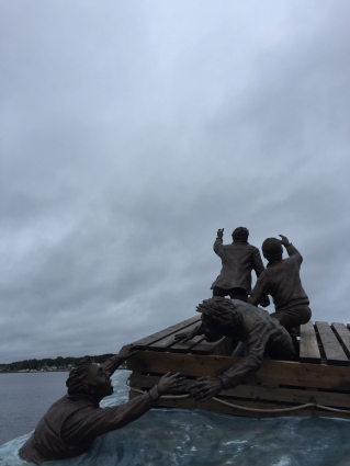 The Sydney Merchant Mariners Memorial on a cloudy day.